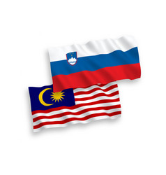 Flags slovenia and malaysia on a white vector