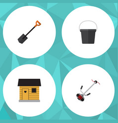 Flat icon farm set of grass-cutter pail spade vector