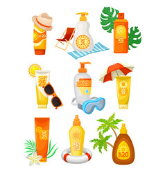 flat set of bottles and tubes of sunscreen vector image
