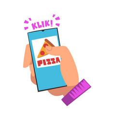 food delivery service person choosing pizza using vector image