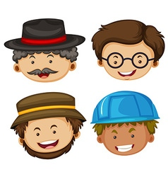 Four heads of male characters vector