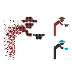Fragmented pixel halftone gentleman beggar icon vector