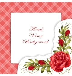 Frame with roses and leaves vector