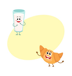 funny smiling glass of milk and croissant vector image