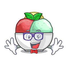 Geek sorbet with mint bowl on character vector