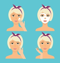 Girl Cleaning And Care Her Face With Various vector