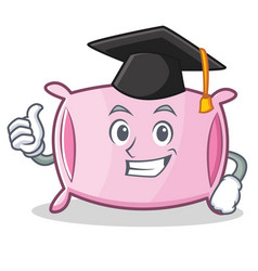 graduation pillow character cartoon style vector image