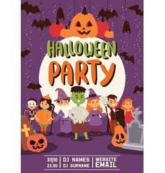 Halloween kids costume trick or treat party vector