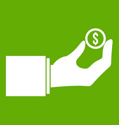 hand holding the money coin icon green vector image