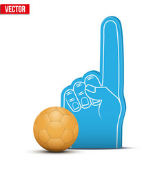 handball sports fan foam fingers and ball vector image