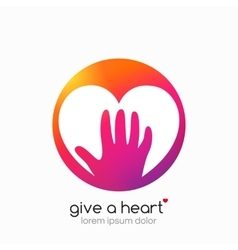 Hands holding heart symbol abstract gradient vector image
