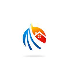 house technology round logo vector image