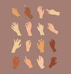 human hand press button arm finger control vector image
