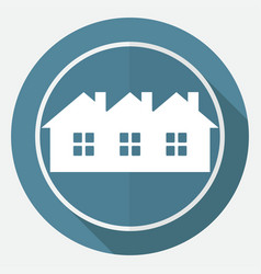 icon house on white circle with a long shadow vector image