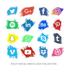 Icon social media logo splatter vector