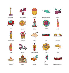 Indonesia icons set cartoon style vector