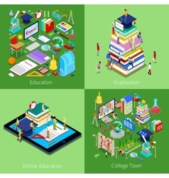 Isometric Educational Concept College Graduation vector