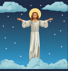 jesus christ religious image night background vector image