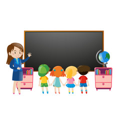 Kids and teacher in classroom vector