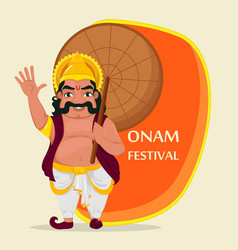 King mahabali happy onam festival in kerala vector