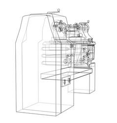 Lathe concept rendering of 3d vector