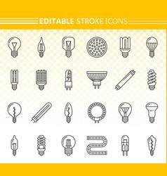 Light bulb lamp simple black line icons set vector