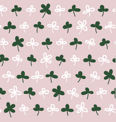 lucky clover floral seamless repeat pattern vector image