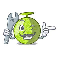 Mechanic cartoon ripe melon fruit in the kitchen vector