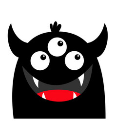 Monster head face black silhouette three eyes vector
