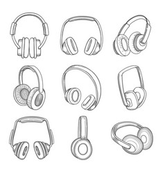 music headphones electronic technology different vector image