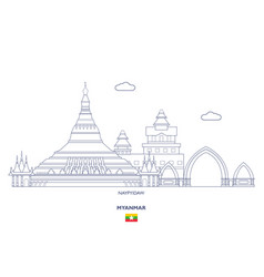 Naypyidaw city skyline vector