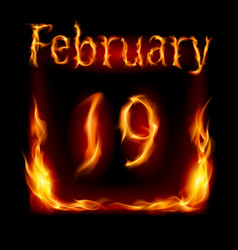nineteenth february in calendar of fire icon on vector image