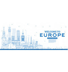 Outline welcome to europe skyline with blue vector