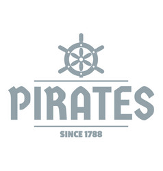 pirate ship logo simple gray style vector image