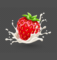 Ripe red strawberry fruit vector
