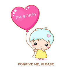 Sadness kawaii little girl with red heart shaped vector