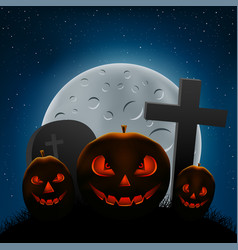 scary halloween pumpkins night vector image