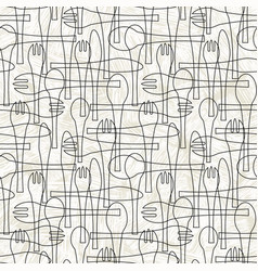 Seamless pattern forks spoons and knives vector