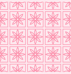 seamless pattern with abstract pink flowers on a vector image