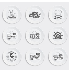 Set plates on a white background vector