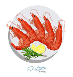 Shrimp with rosemary and lemon on plate vector