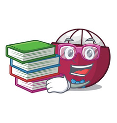 student with book fresh ripe mangosteen isolated vector image