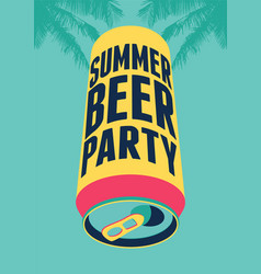 Summer beer party typography vintage poster vector