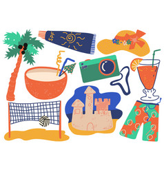 summer holiday symbols set cocktail shorts vector image