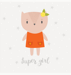 Super girl cute little kitty greeting card or vector