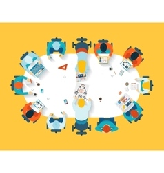 Teamwork Business brainstorming top view vector