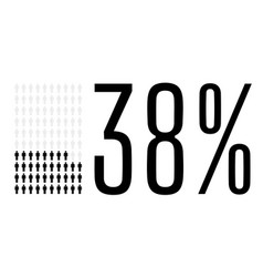 Thirty eight percent people chart graphic 38 vector