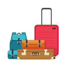 Travel luggage bags heap or airport baggage vector