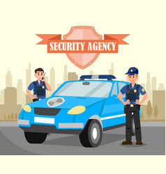 Two bodyguards and car flat vector