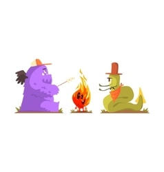 Two Monsters Warming Up And Frying Marshmallows vector